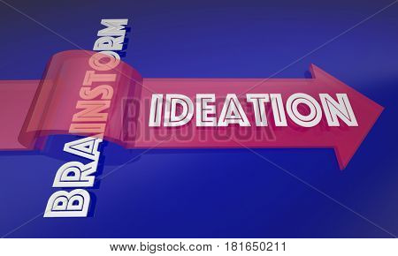 Ideation Vs Brainstorm New Process Thinking Ideas 3d Illustration