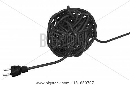 Electric cable ball 3d illustration horizontal isolated over white