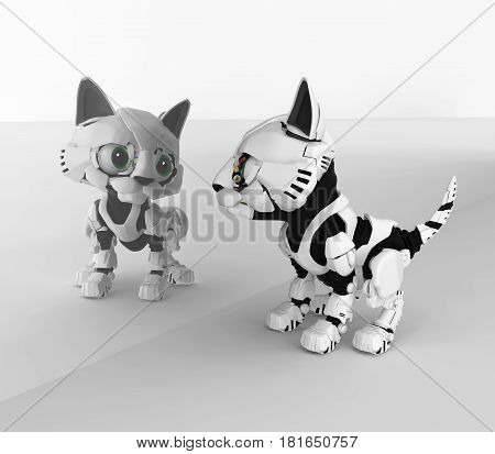 Robotic kitten mirror reflection 3d illustration horizontal