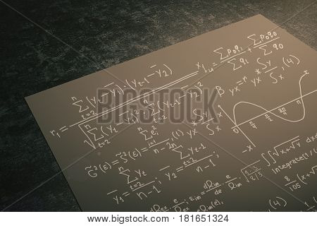 Close up of black paper sheet with mathematical formulas placed on dark desktop. Science concept. 3D Rendering