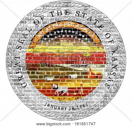 Kansas Seal US flag painted on old vintage brick wall