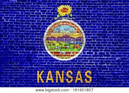 Kansas US flag painted on old vintage brick wall
