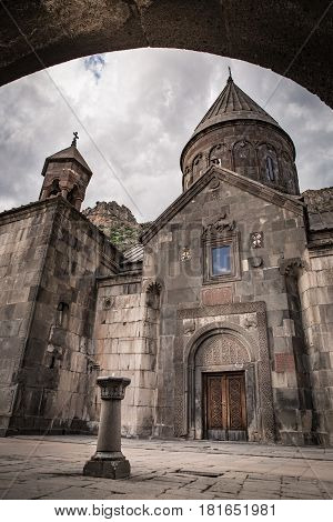 The famous hermitage monastery Geghard located in the mountains of Armenia old