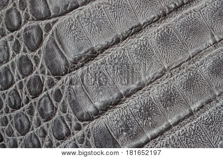 Genuine leather texture background, crocodile skin print, matte surface, fashion pattern. Perfectly worn and look great. For natural, artisan backdrop with copy space, substrate composition use. Concept of shopping, manufacturing