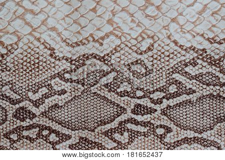 Genuine leather texture with imitation of exotic reptile with with an interesting pattern, trendy background. Pattern of a snake skin