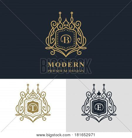 Monogram design elements graceful template. Calligraphic elegant line art logo design. Letter emblem sign B T E for Royalty business card Boutique Hotel Heraldic Jewelry. Vector illustration