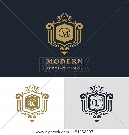 Monogram design elements graceful template. Calligraphic elegant line art logo design. Letter emblem sign M K L for Royalty business card Boutique Hotel Heraldic Jewelry. Vector illustration