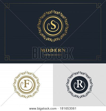 Monogram design elements graceful template. Calligraphic elegant line art logo design. Letter emblem sign S F R for Royalty business card Boutique Hotel Heraldic Jewelry. Vector illustration