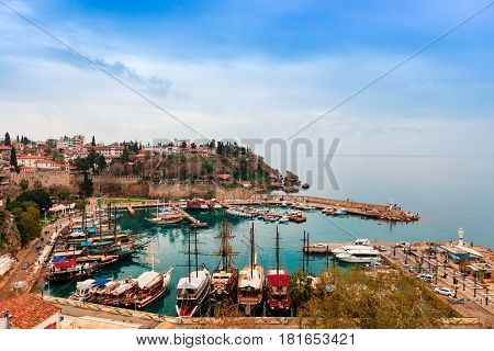 ANTALYA, TURKEY - MARCH 8: Small marina in the historic Old Town of Antalya, known as Kaleici on March 8, 2017.