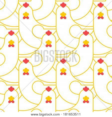Chicken Seamless Pattern. Farm Bird Background Ornament