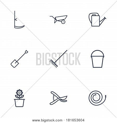 Set Of 9 Horticulture Outline Icons Set.Collection Of Bailer, Barrow, Firehose And Other Elements.