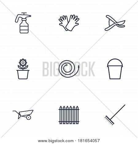 Set Of 9 Farm Outline Icons Set.Collection Of Plant Pot, Secateurs, Harrow And Other Elements.