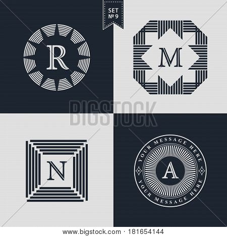 Design Templates Set. Logotypes elements collection Icons Symbols Retro Labels Badges Silhouettes. Abstract logo Letter R M N A emblems. Premium Collection. Vector illustration
