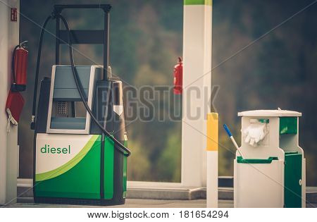 Gas Station Diesel Fuel Distributor Closeup Photo. Modern Gasoline Dispenser.