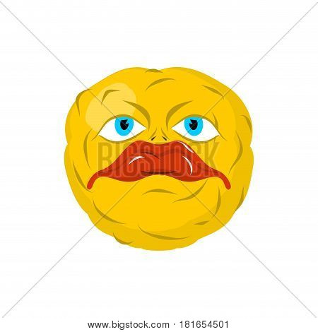 Sad Emoticon. Crazy Emoji. Sorrowful Emotion. Yellow Ball Head