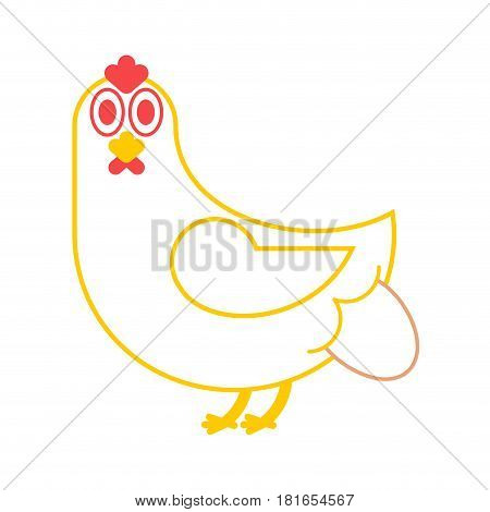 Hen Lays An Egg. Chicken And Eggs. Farm Bird