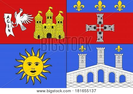 Flag of Lot-et-Garonne is a department in the southwest of France.