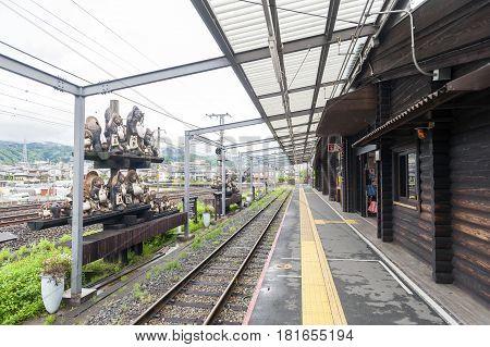 Kameoka Japan - March 2016: Torokko Kameoka Station terminal station for Sagano Scenic Railway or romantic train from Arashiyama