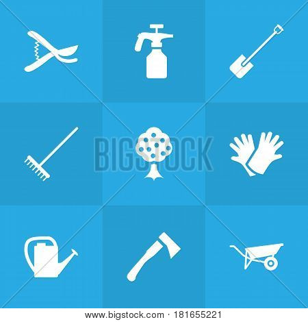 Set Of 9 Farm Icons Set.Collection Of Wheelbarrow, Latex, Spray Bootle And Other Elements.