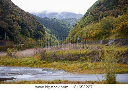 Japan beautiful countryside in spring in Kameoka, Kyoto