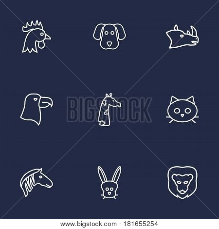 Set Of 9 Alive Outline Icons Set.Collection Of Cat, Cock, Lion And Other Elements.