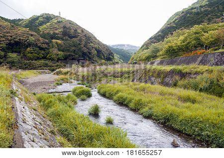 Uno River Japan countryside in Kameoka, Kyoto