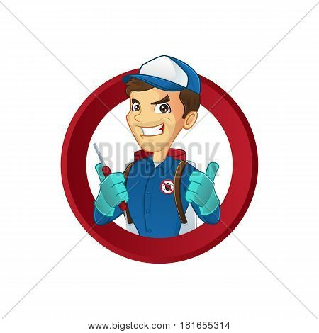 Exterminator giving thumbs up isolated in white background