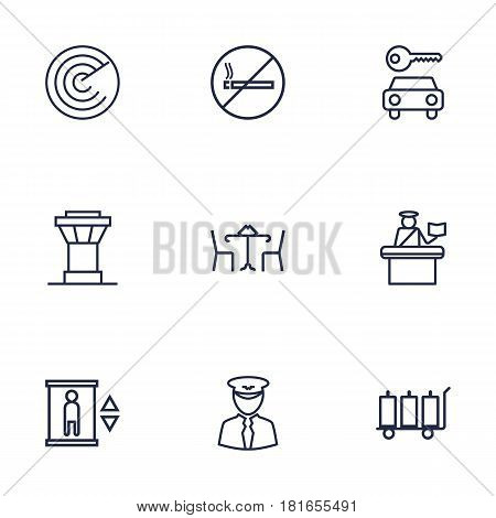 Set Of 9 Airplane Outline Icons Set.Collection Of Cafe, Elevator, Detection And Other Elements.