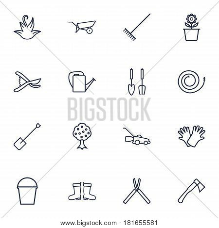 Set Of 16 Household Outline Icons Set.Collection Of Spade, Firehose, Secateurs And Other Elements.