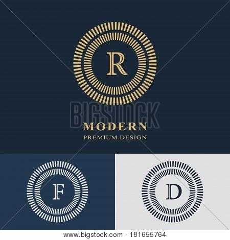 Modern logo design. Geometric linear monogram template. Letter emblem R F D. Mark of distinction. Universal business sign for brand name company business card badge. Vector illustration