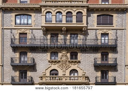 House with moulding in city center of Valencia Spain