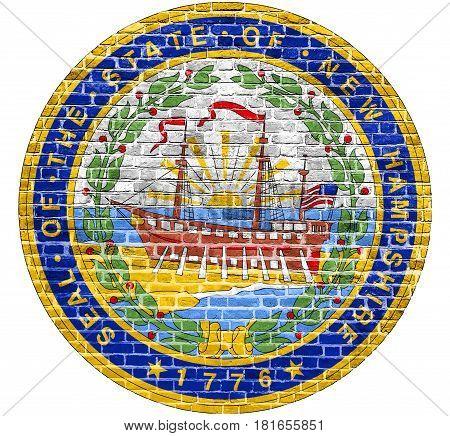 New Hampshire Seal US flag painted on old vintage brick wall