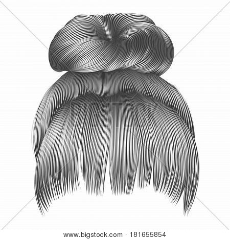 bun  hairs with fringe gray colors . women fashion beauty style .