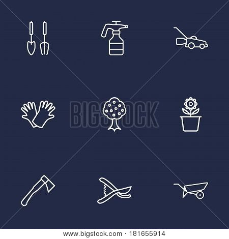 Set Of 9 Farm Outline Icons Set.Collection Of Barrow, Hatchet, Secateurs And Other Elements.