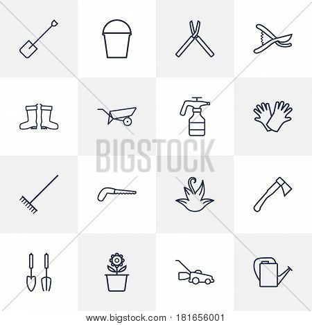 Set Of 16 Horticulture Outline Icons Set.Collection Of Spade, Waterproof Shoes, Arm-Cutter And Other Elements.