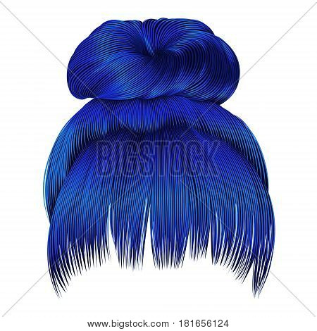 bun  hairs with fringe dark blue colors . women fashion beauty style .