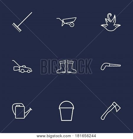 Set Of 9 Horticulture Outline Icons Set.Collection Of Barrow, Harrow, Waterproof Shoes And Other Elements.