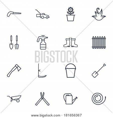 Set Of 16 Horticulture Outline Icons Set.Collection Of Instruments, Pail, Atomizer And Other Elements.