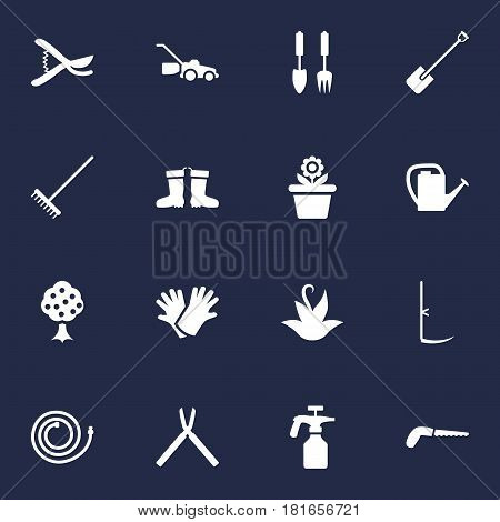 Set Of 16 Farm Icons Set.Collection Of Spray Bootle, Rubber Boots, Garden And Other Elements.