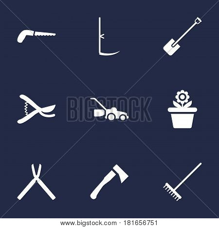 Set Of 9 Horticulture Icons Set.Collection Of Lawn Mower, Rake, Scissors And Other Elements.