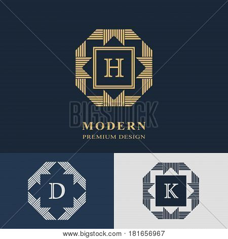 Modern logo design. Geometric linear monogram template. Letter emblem H D K. Mark of distinction. Universal business sign for brand name company business card badge. Vector illustration