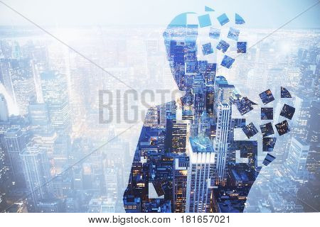 Abstract broken man silhouette on abstract city background. Confused concept. Double exposure