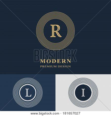 Modern logo design. Geometric linear monogram template. Letter emblem R L I. Mark of distinction. Universal business sign for brand name company business card badge. Vector illustration