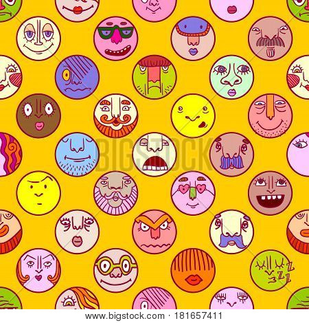 Hand drawn set of colorful face avatar icons with different expression on yellow background. Cute doodle style emoticons collection. Vector illustration. Funny cartoon faces.