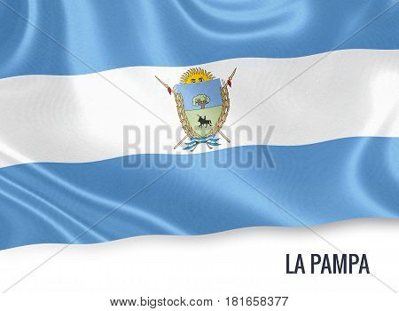 Argentinian state La Pampa waving on an isolated white background. State name is included below the flag. 3D rendering.