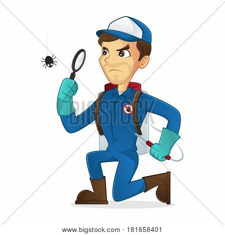 Exterminator searching for bug isolated in white background