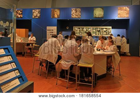 AMSTERDAM, NETHERLANDS - MAY 6, 2016: People in Laboratory of the Science Center Nemo - famous science and educational museum in Amsterdam, Netherlands.