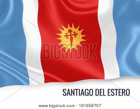 Argentinian state Santiago del Estero waving on an isolated white background. State name is included below the flag. 3D rendering.