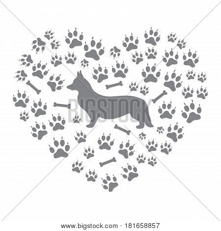 Nice Picture Of Welsh Corgi Pembroke Silhouette On A Background Of Dog Tracks And Bones In The Form