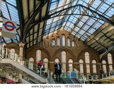LONDON UK - 25th November 2016: Liverpool Street Mainline Station stairs and roof